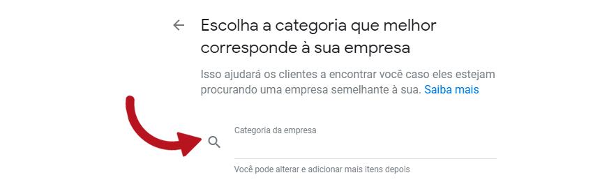 escolha a categoria da sua loja no google meu negócio